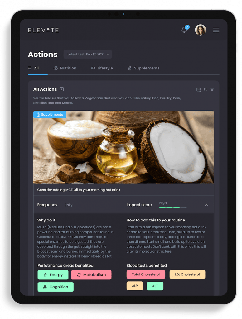 ElevateMe health app - Actionable insights