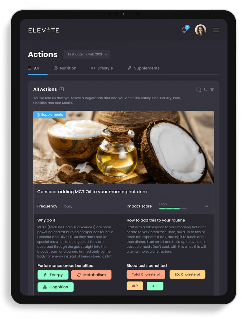 ElevateMe health app recommended actions